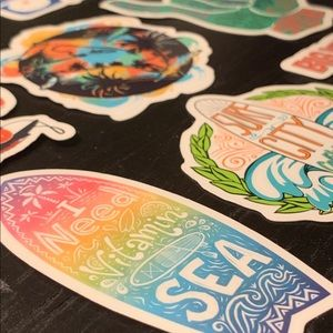 Surf Shaka Beach Stickers Decals 8pk